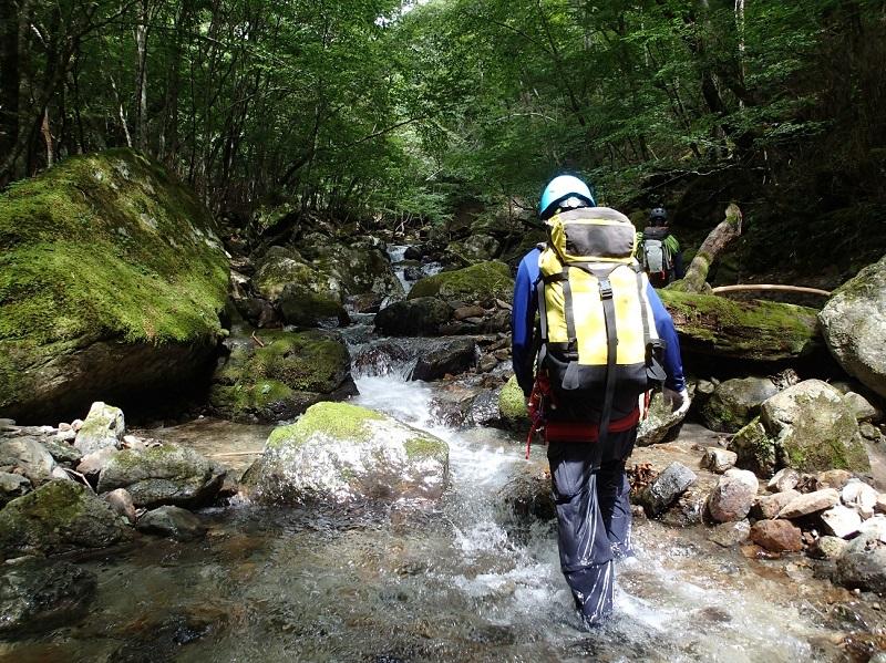 静かな渓流を行く