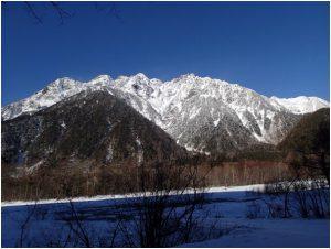 梓川から見た穂高連峰