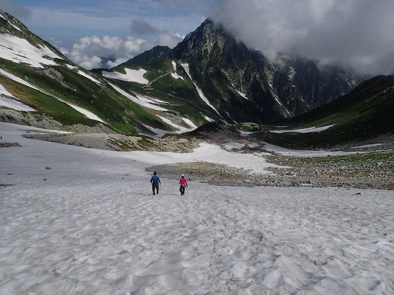 剣沢キャンプ場付近にて雪上歩行訓練を行う様子